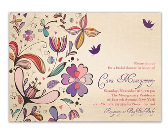 Rustic Bridal Shower Invitation Chic Floral Baby Shower Wedding Invitation Purple Colorful FREE PRIORITY SHIPPING or DiY Printable - Cara