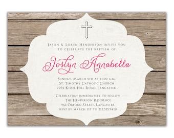 Baptism Invitation Rustic Christening Invitation Girl or Boy Wood Simple Cross FREE PRIORITY SHIPPING or DiY Printable - Joslyn