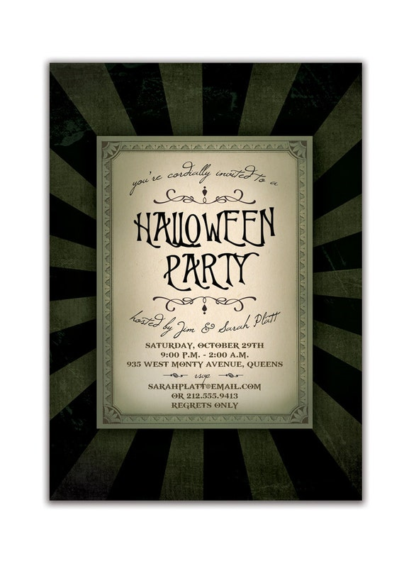 Gothic Halloween Invitation Dark Halloween Party Invitation Wicked Spooky Halloween DIY Digital or Printed - Platt Style