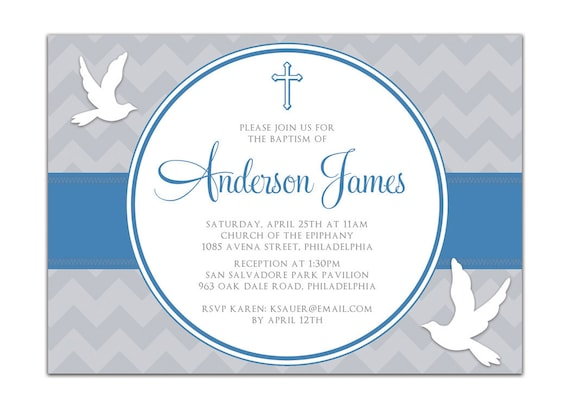 Baptism Invitation Modern Chevron Christening Invitation Baby
