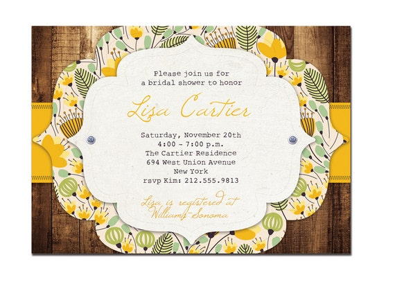 Rustic Bridal Shower Invitation Vintage Baby Shower Rustic Yellow Green Floral & Wood FREE PRIORITY SHIPPING or DiY Printable - Lisa