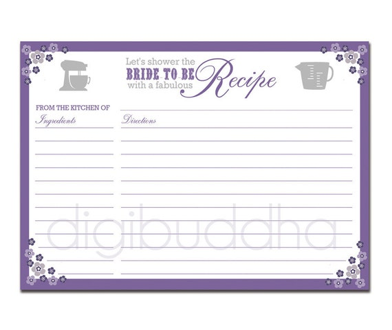 Recipe Card Bridal Shower Purple Floral 5x7 4x6 DIY Printable or Printed Fill-In Recipe Card Retro Flowers - Priscilla Style