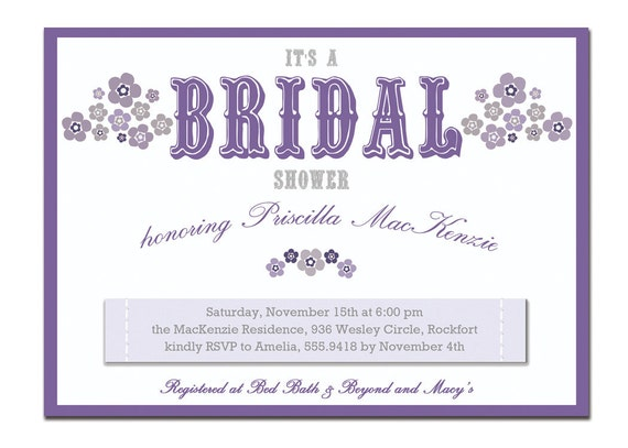 recipe card bridal shower purple floral x x diy printable, Bridal shower invitations