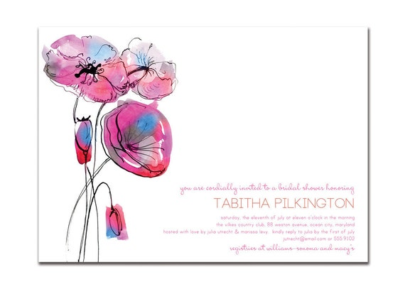 Bridal Shower Invitation Modern Watercolor Poppies Pink Purple Blue Minimal Wedding Invitation DIY Printable or Printed - Tabitha Style