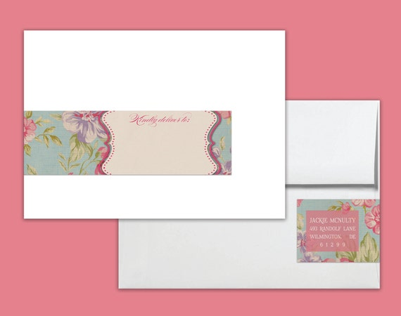 Envelope Wrap Labels Printable Address Wraps PDF Vintage Rose Floral Rustic Wraparound DIY Address Labels Customized - Jackie Style