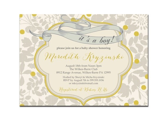 Its A Boy Baby Shower Invitation Vintage Gray & Yellow Baby Boy Modern Floral Invite DIY Printable or Printed - Meredith Style
