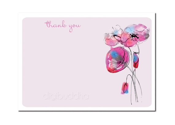 Modern Thank You Card Bridal Shower Minimal Bridal Wedding Card Watercolor Flowers 5x7 Thank You Card DIY Digital or Printed - Tabitha Style