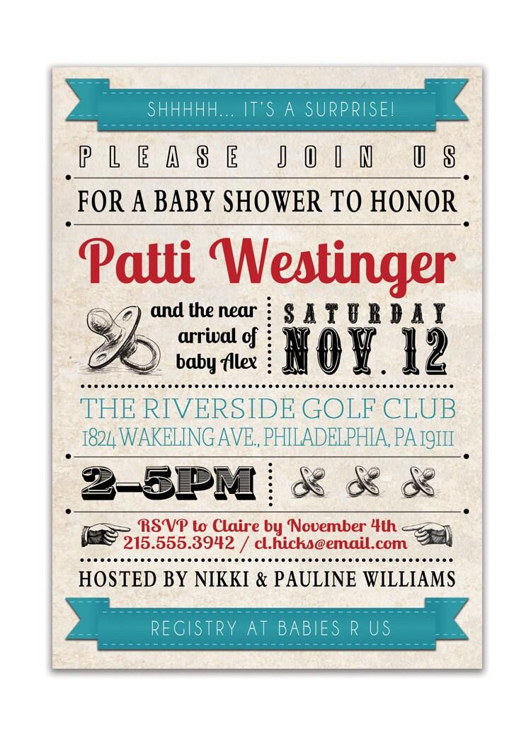 Vintage Baby Shower Invitations ~ Baby shower invitation vintage retro by digibuddhapaperie