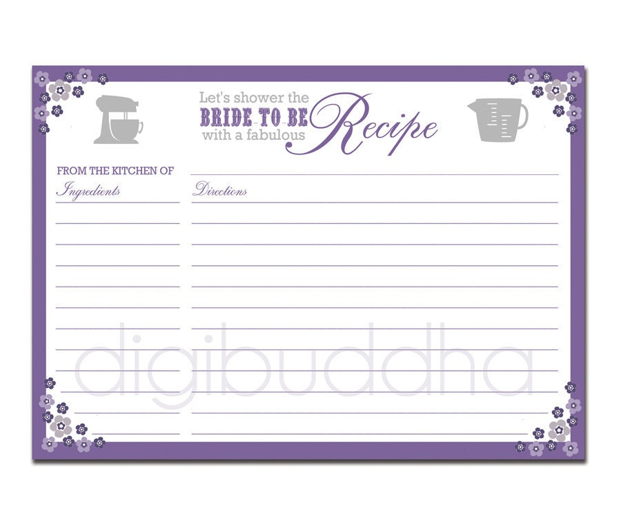 Recipe Card Bridal Shower Purple Floral 5x7 by digibuddhaPaperie