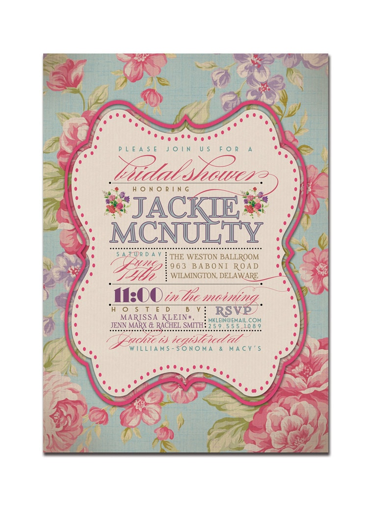 Bridal shower invitation vintage rustic bridal wedding for Invitations for wedding shower