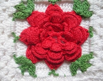 Vintage Crochet Pot Holder / Trivet with a Red Rose