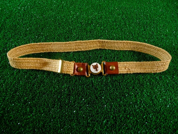 Vintage fox magnet woven belt with brown leather details
