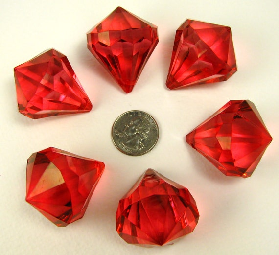 HUGE RED diamond bling acrylic faceted 6 (six) pendants
