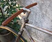 bicycle handlebar (round tip at both ends) - solid TEAK wood, vintage style