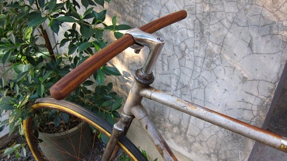 bicycle handlebar (round tip at both ends) - solid TEAK wood, vintage style