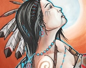 native woman painting:  original watercolor art, 8x12, moon maiden