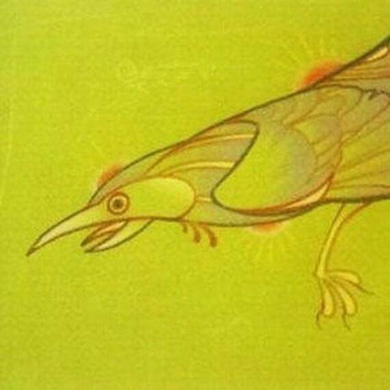 peter the crow, animal art, original drawing