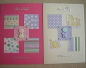 Set of 2 large cards, it's a girl, it's a boy, congratulations, handmade.