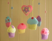 Cupcake mobile with felt cupcakes and a heart. Free shipping. Ready to ship. An original design by Patchwork Pawprint.