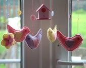 Baby mobile with felt birds, bird house.  Ready to ship. Nursery decor. An original design by Patchwork Pawprint.
