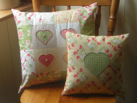 Set of 2 strawberry print patchwork cushions, pillows.  Moda cotton. Heart applique. Embroidered. Ready to ship.