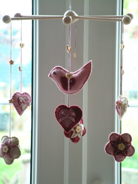 Mobile felt bird with hearts and flowers. Ready to ship. Dusky pink & wine. An original design by Patchwork Pawprint.