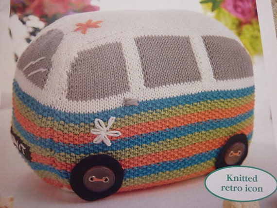 Vw Campervan Knitting Pattern : PDF Knitting Pattern for 1960s Flowerpower VW by ohmygoshmygolly