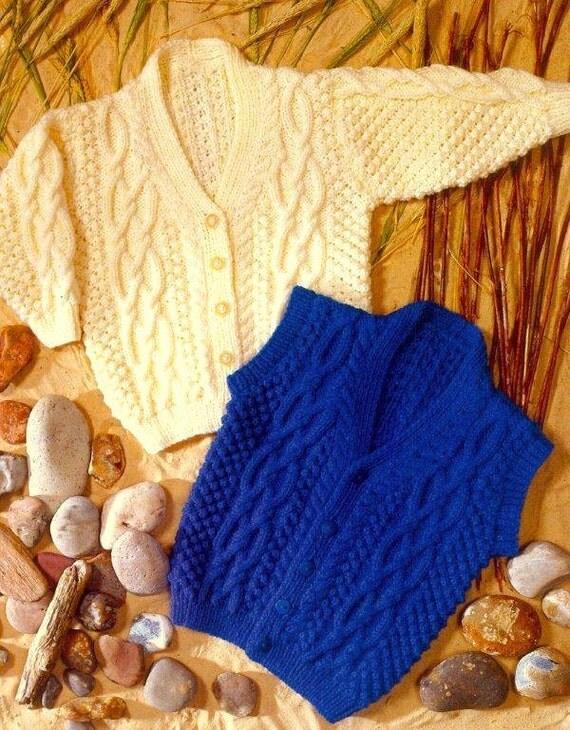 Knitting Patterns Childrens Aran Cardigans : PDF Knitting Pattern for childrens ARAN Cardigan & Waistcoat