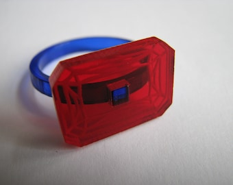 Red - Blue acrylic Diamond Ring