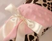 SALE...Minky Stroller Blanket - Giraffe and Pink Minky Dot