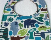 Minky Baby Bib - 2D Zoo and Brown Minky Dot