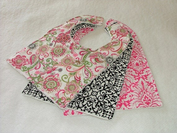 SALE...Minky Baby Bib Set -Moire Fleur, Pink Damask, and Black Swirl