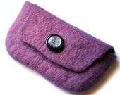 Purple Felted Clutch Purse Australian Merino Wool with Black and Purple Glittery Button