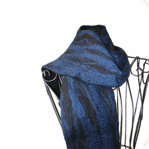 felted scarf australian merino wool and silk royal blue