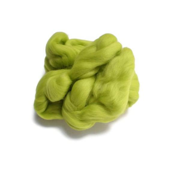 Lime Green Merino Wool  Fleece Roving for Felting or Spinning Australian Fleece