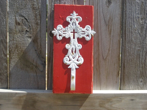 Sale - Wood Wall Hanger - Distressed Red with White Distressed Cross Hanger