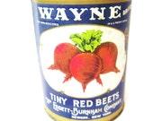Tin Can Antique Advertising WAYNE Red Beets Metal Bank