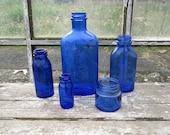 Instant Collection of Antique Cobalt Blue Bottles Bromo Seltzer  Magnesia More Old Bottles Lot