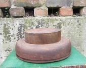 Antique Wood Hat Mold Mullinery Primitive Hat Block and Flange  Top Hat