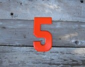 Reserved for Anthony Vintage Metal Chippy Number 5 Five Sign Painted Sign Antique Marquee Rusted Metal Orange