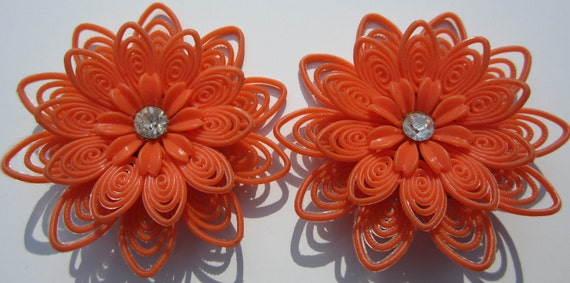 Vintage Earrings Soft Plastic Floral Orange Retro Large Clip On 1960s