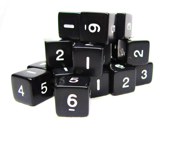Lot of 20 Vintage Numbered Dice Black White for Jewelry or Crafts