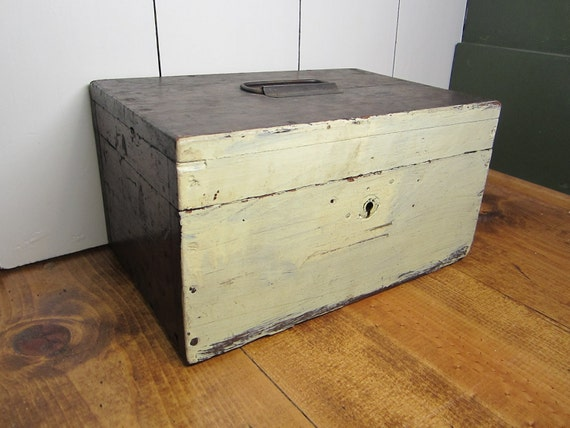 Antique Home Made Lock Box or Wood Trunk OOAK Recycled from Furniture 1930s