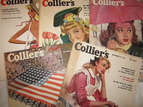 Instant Collection of 10 1940s Colliers Magazines Advertisements and Articles