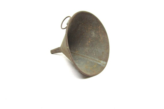 Fresh off the Farm Antique Rusted Metal Funnel Old Rusty Garage or Mechanics Rustic Decor