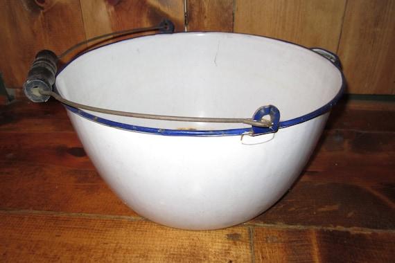 Antique Large Porcelain Enameled Metal Bowl Wood Bale Handled Bowl