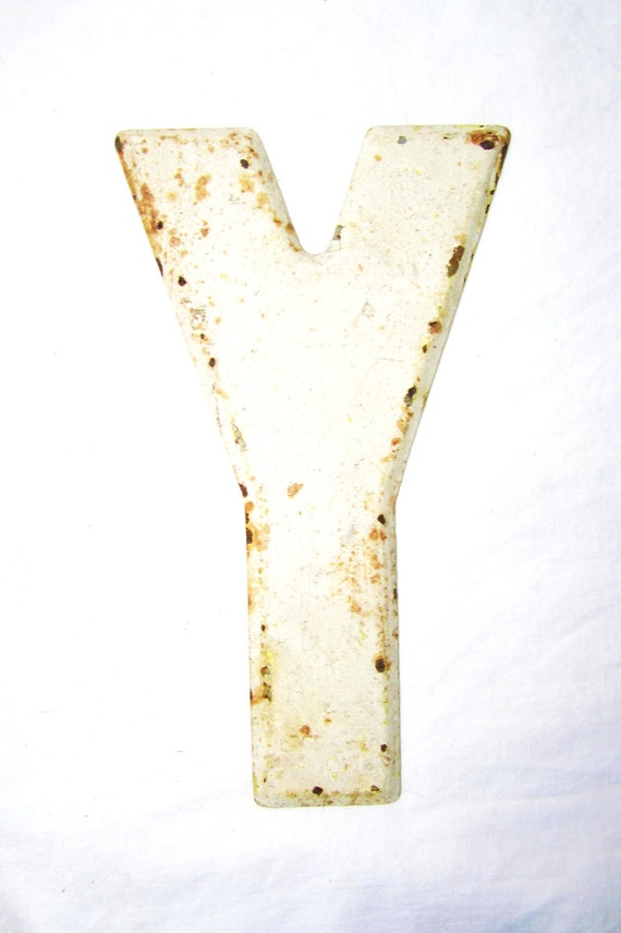 Vintage Metal White Chippy Letter Y Painted Sign Antique Marquee Rusted Metal