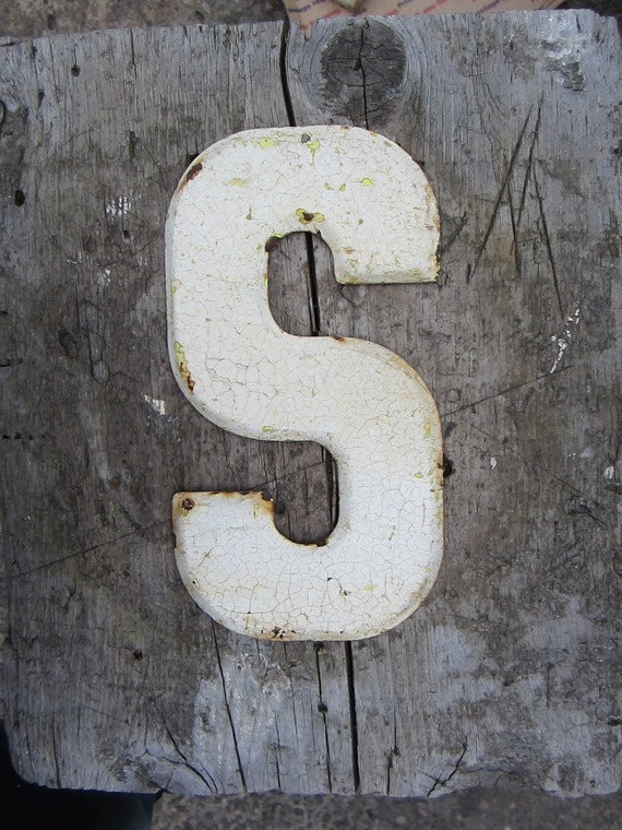 vintage metal letters vintage metal chippy letter s sign painted sign antique 1702