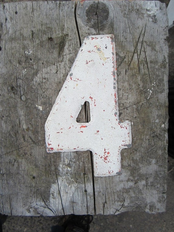Vintage Metal Chippy Number 4 Sign Painted Antique Marquee Rusted Metal Sign