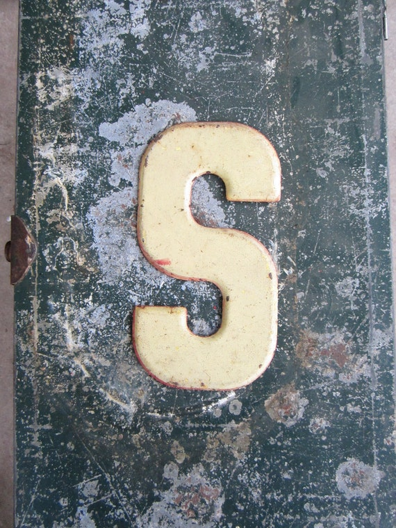 Vintage Metal Chippy Letter S Sign Painted Sign Antique Marquee Rusted Metal
